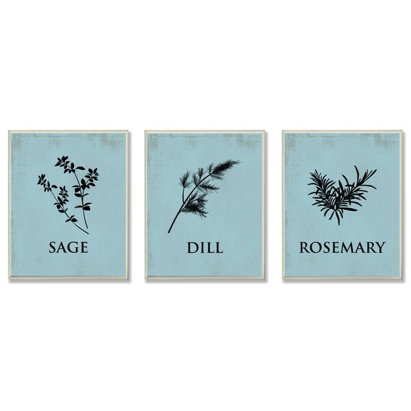 Sage, Dill, & Rosemary Silhouettes 3 pcs Graphic Art Wall Plaque Set by Stupell Industries