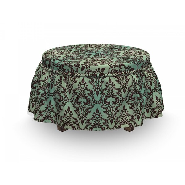 Baroque Floral Ottoman Slipcover (Set Of 2) By East Urban Home