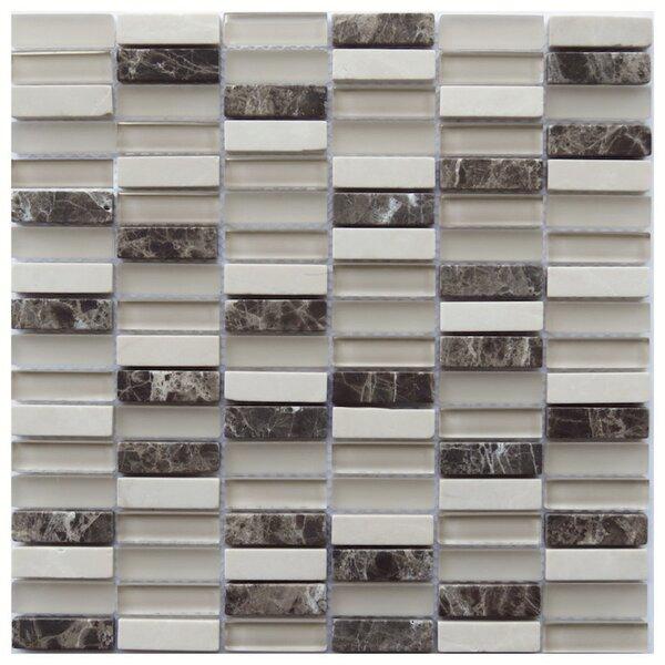 Foggia 0.6 x 2 Natural Stone/Glass Mosaic Tile in Beige by NovoTileStudio