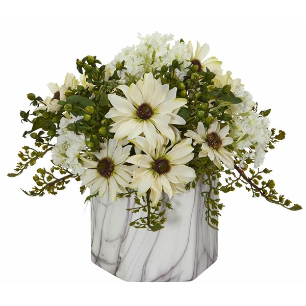 Artificial Daisy Centerpiece in Vase by Highland Dunes