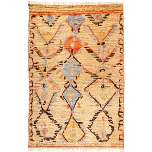One-of-a-Kind Dex Hand Knotted Wool Tan/Brown Area Rug by Isabelline