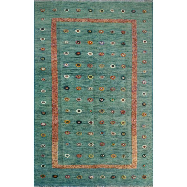 Creola Hand-Knotted Wool Blue Area Rug by Bungalow Rose