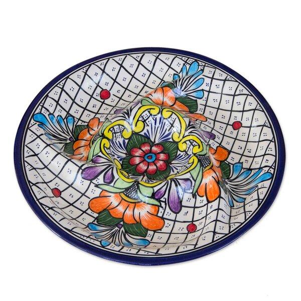 Bright Floral Ceramic Platter by Novica