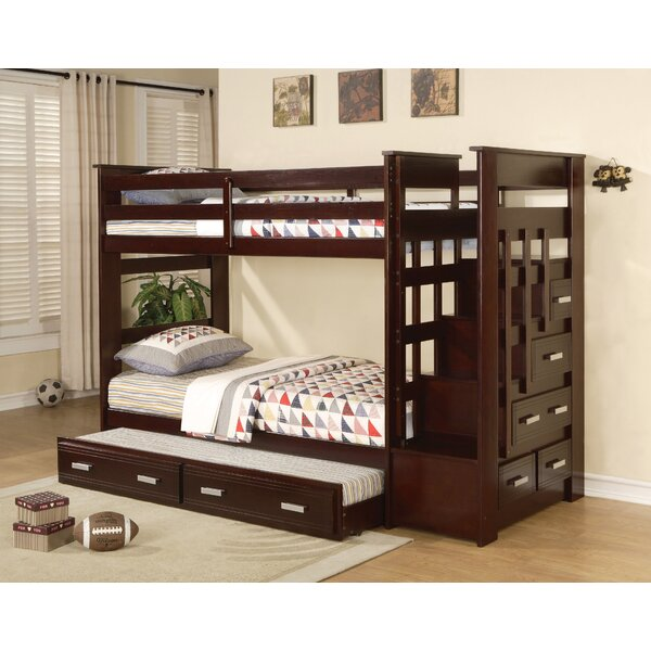 Zoya Twin over Twin Bunk Bed with Trundle and Drawers by Harriet Bee