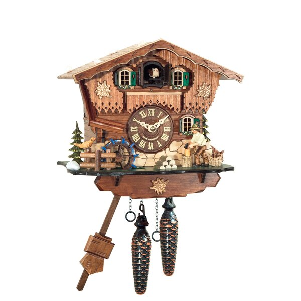 Battery-Operated Wood Chops Cuckoo Wall Clock by Loon Peak
