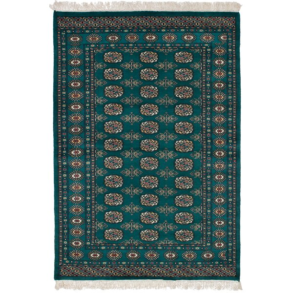 One-of-a-Kind Groth Hand-Knotted Wool Dark Teal Area Rug by Isabelline