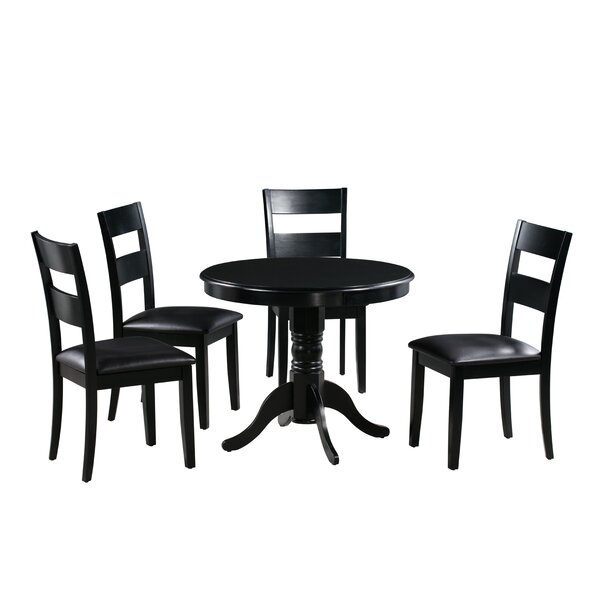 Toby 5 Piece Drop Leaf Solid Wood Dining Set by Alcott Hill