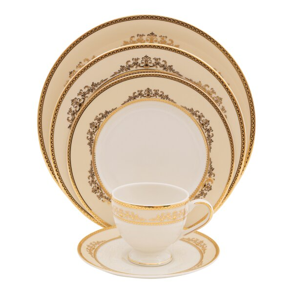 Caramel 5 Piece Ivory China Place Setting, Service for 1 (Set of 4) by Shinepukur Ceramics USA, Inc.