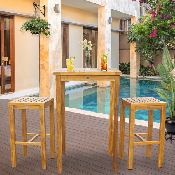 Vaughn Patio 3 Piece Teak Bar Height Dining Set Bayou Breeze W001922577