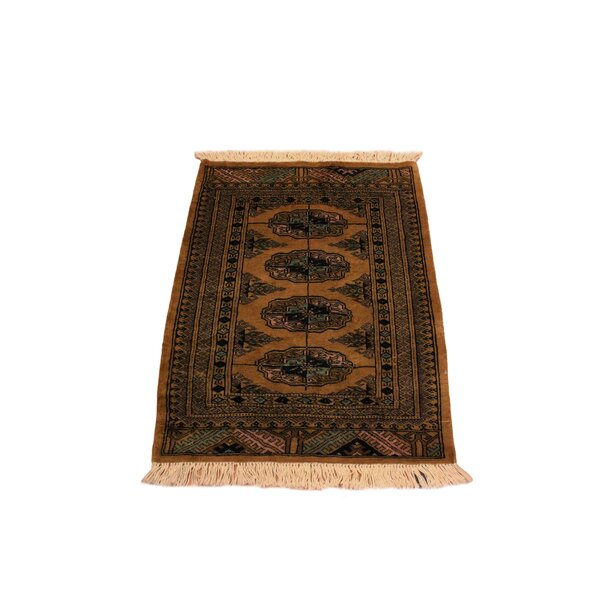 One-of-a-Kind Palomares Hand-Knotted Wool Gold/Black Area Rug by Bloomsbury Market