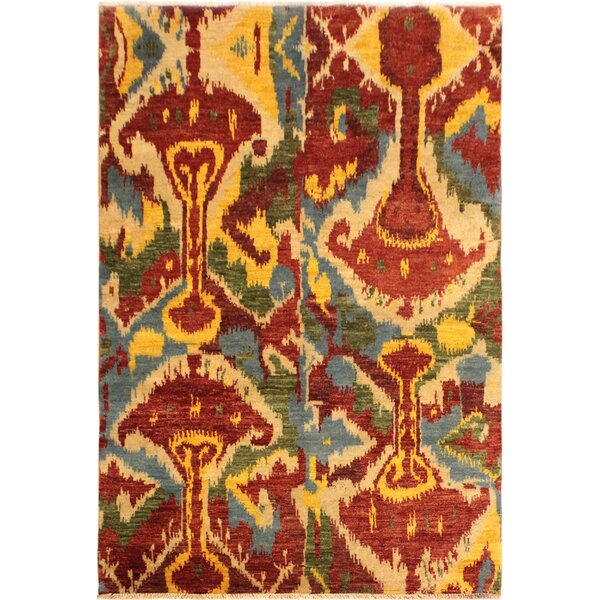 One-of-a-Kind Lutz Hand Knotted Wool Red/Orange Area Rug by World Menagerie