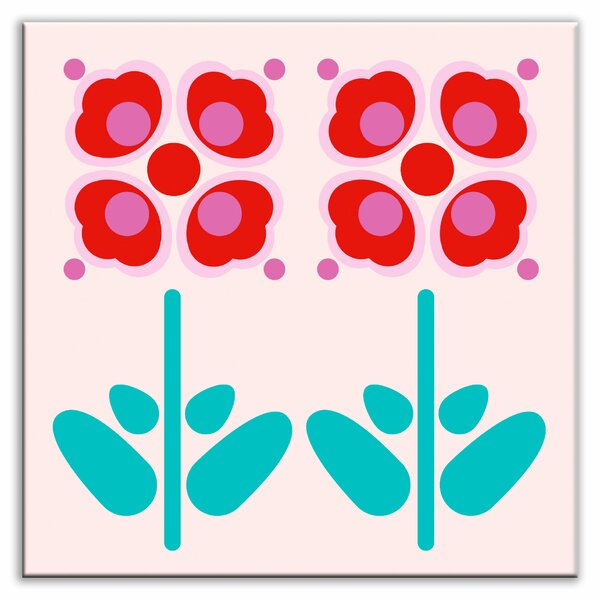 Folksy Love 6 x 6 Glossy Decorative Tile in Pressed Flowers Red by Oscar & Izzy