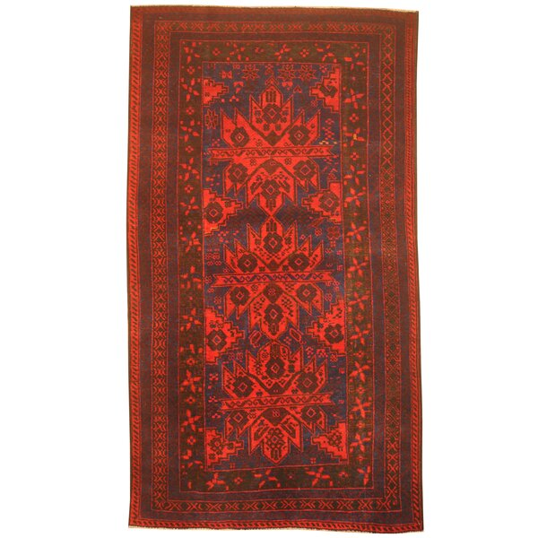 Prentice Hand-Knotted Red/Blue Area Rug by Isabelline