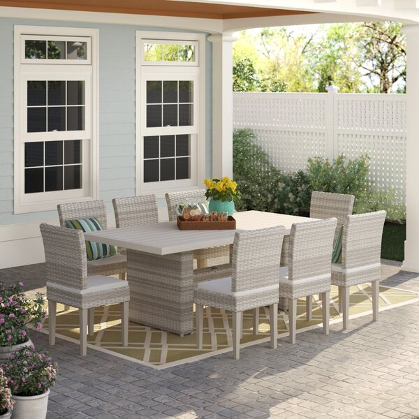 Waterbury 9 Piece Patio Dining Set with Cushions by Sol 72 Outdoor