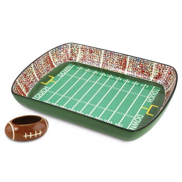 Fiqueroa 2 Piece Football Gameday Stadium Ceramic Chip and Dip Platter Set by Ebern Designs