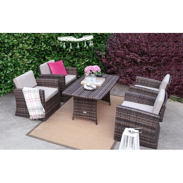 5 Piece Rattan Seating Group with Cushions by Baner Garden