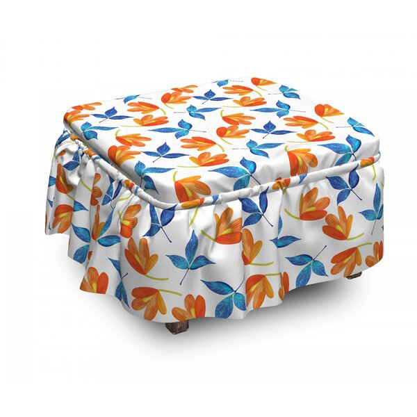 Blooming Petal And Leaf Ottoman Slipcover (Set Of 2) By East Urban Home