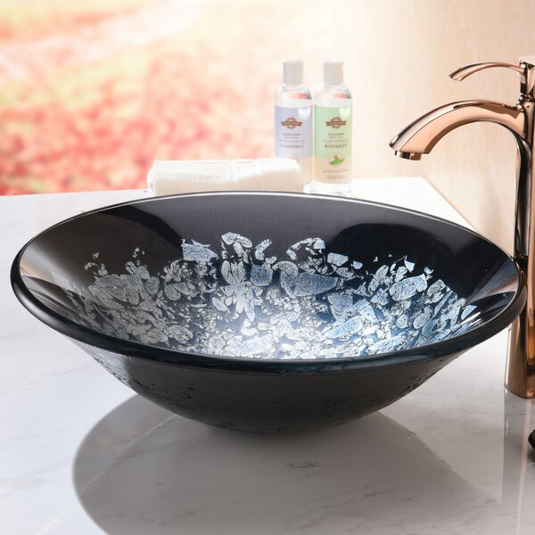 Chrona Glass Circular Vessel Bathroom Sink by ANZZI