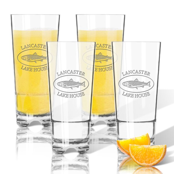 Tritan Lakehouse and Trout 16 oz. High Ball Glass (Set of 4) by Carved Solutions