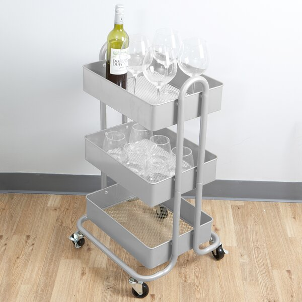 Whirl Heavy Duty 3 Tier Metal Utility Cart by Mind Reader