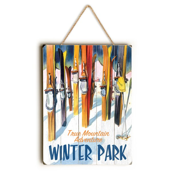 Winter Park with Skiis Graphic Art by Loon Peak