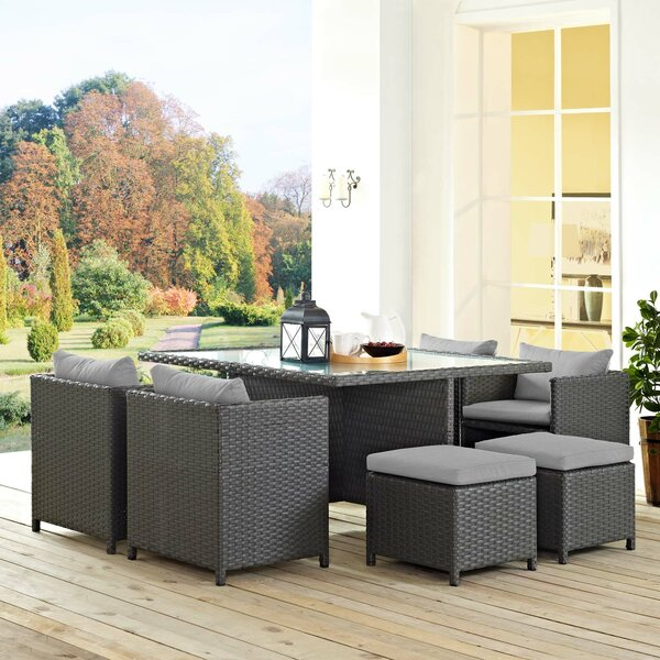 Leda 9 Piece Rattan Sunbrella Dining Set with Cushions by Brayden Studio