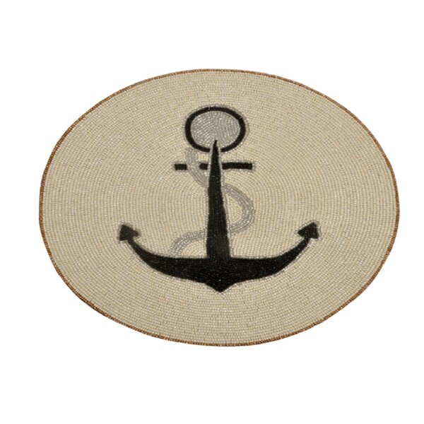Lillianna Beaded Round Anchor Design Handmade Placemat (Set of 6) by Longshore Tides