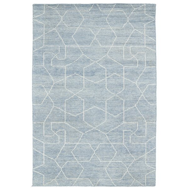 Aracely Hand-Woven Light Blue/Slate Area Rug by Mercury Row
