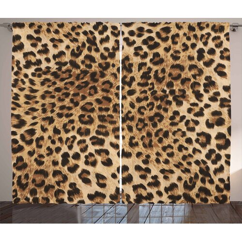 Leopard 2-Piece Pinch Pleat/Tab Top Blackout Thermal Curtains East Urban Home