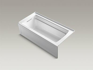 Archer Alcove BubbleMassage™ Air Bath with Integral Apron, Left-Hand Drain and Bask™ Heated Surface by Kohler