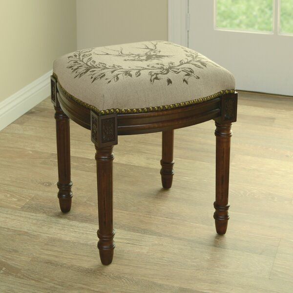 Elk Linen Upholstered Vanity Stool with Nailhead by 123 Creations