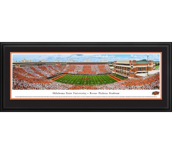 NCAA Oklahoma State Football Stripe Game Framed Photographic Print by Blakeway Worldwide Panoramas, Inc