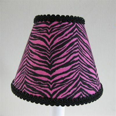 Wild Jungle 7 H Fabric Empire Lamp shade ( Screw on ) in Pink/Black