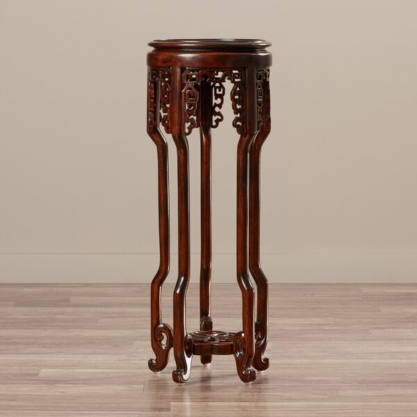 Solid Wood Mahogany Pedestal Plant Stand By World Menagerie