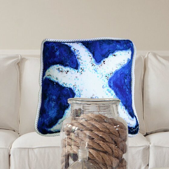 Starfish Trimmed Throw Pillow by My Island