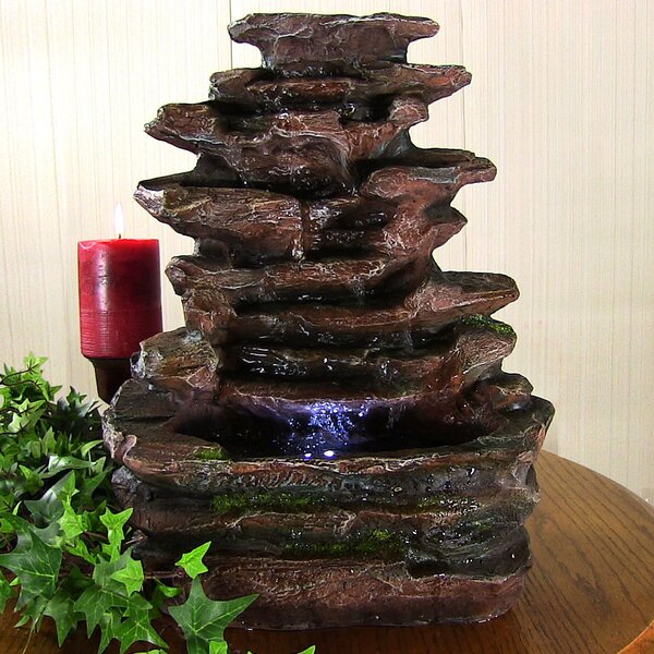 Polyresin Soothing Rock Falls Tabletop Fountain with Light by Wildon Home ®