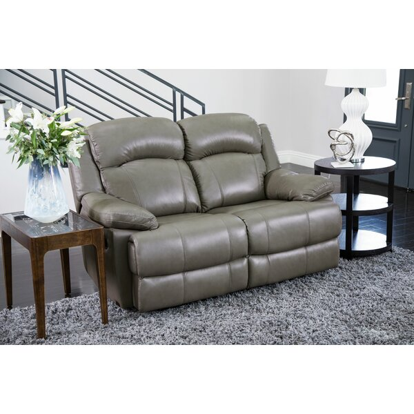 Low Cost Nigel Leather Reclining Loveseat by Darby Home Co by Darby Home Co