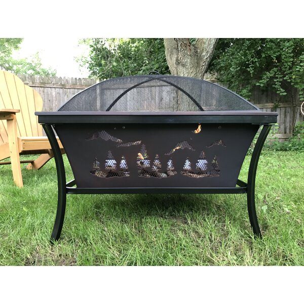 Timberland Steel Wood Burning Fire Pit with Screen by Pomegranate Solutions, LLC