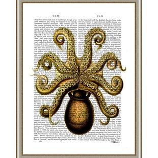 Coastal 'Vintage Yellow Octopus Underside' Framed Graphic Art by Ashton Wall Décor LLC