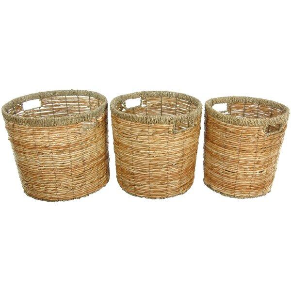 Rush Grass Waste Basket (Set of 3) by Oriental Furniture