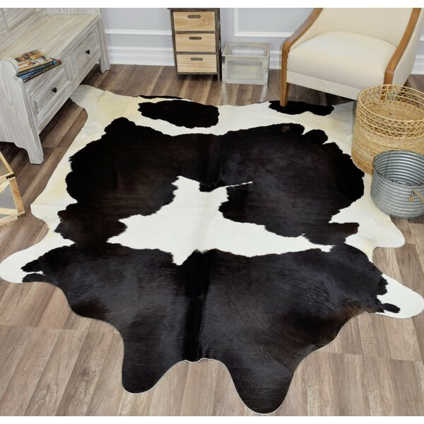 Sarah Hand-Woven Cowhide White/Black Area Rug by Millwood Pines