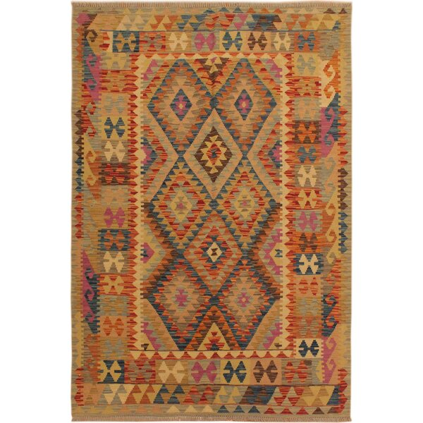 One-of-a-Kind Jorge Handmade Kilim Wool Light Orange/Blue Area Rug by Isabelline