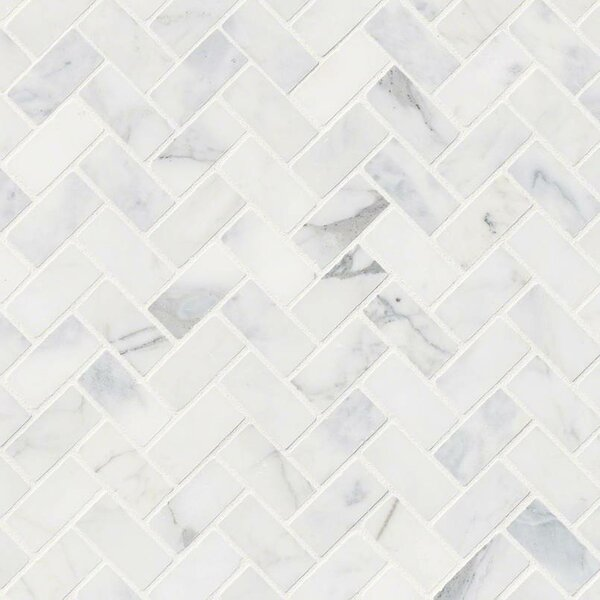 Calacatta Cressa Herringbone Honed Marble Mosaic Tile in White by MSI