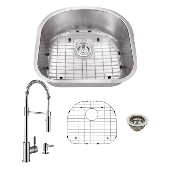 23 L x 21 W Undermount Kitchen Sink with Faucet and Soap Dispenser by Cahaba