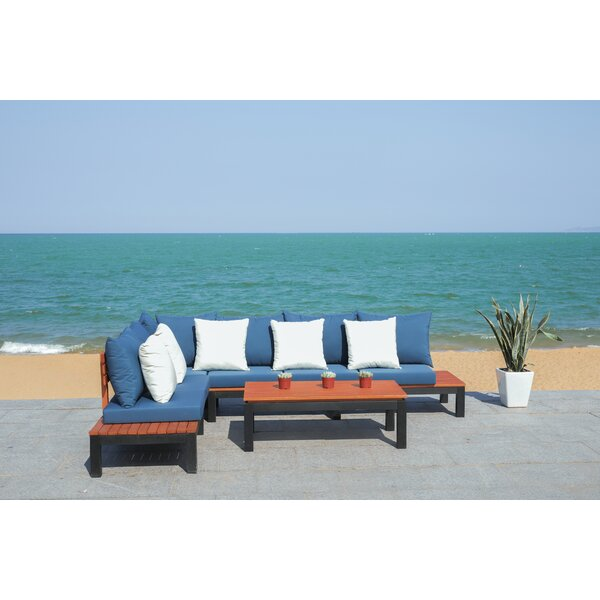 Thalia 3 Piece Sectional Seating Group with Cushions by Rosecliff Heights