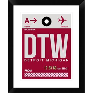 'DTW Detroit Luggage Tag 1' Framed Graphic Art Print by Naxart