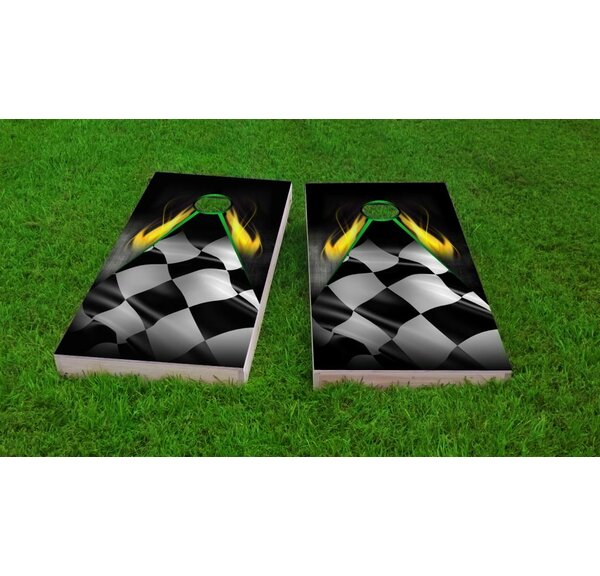 Flaming Checkered Flag Cornhole Game Set by Custom Cornhole Boards