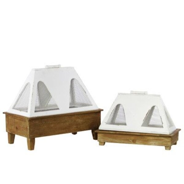 New Smyrna 2 Piece Wood Terrarium Set by Bungalow Rose