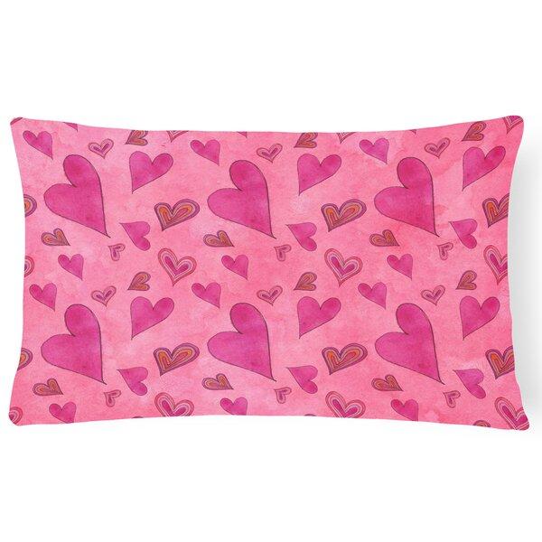 Lonan Watercolor Love and Hearts Indoor/Outdoor Throw Pillow by Zoomie Kids