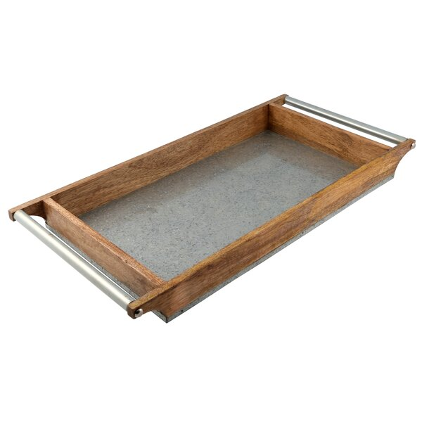 Mertz Rectangular Mango Wood and Galvanized Iron Serving Tray by Laurel Foundry Modern Farmhouse